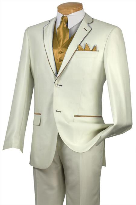 SKU#RDC4 Tuxedo Gold-Camel Trim Microfiber Two Button Notch 5-Piece Choice of Solid White or Ivory $585