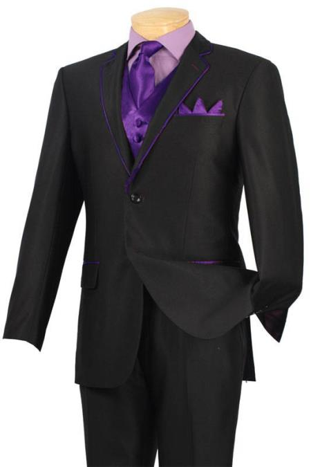 SKU#QAA50 Tuxedo Black Purple Trim Microfiber Two Button Notch 5-Piece $585