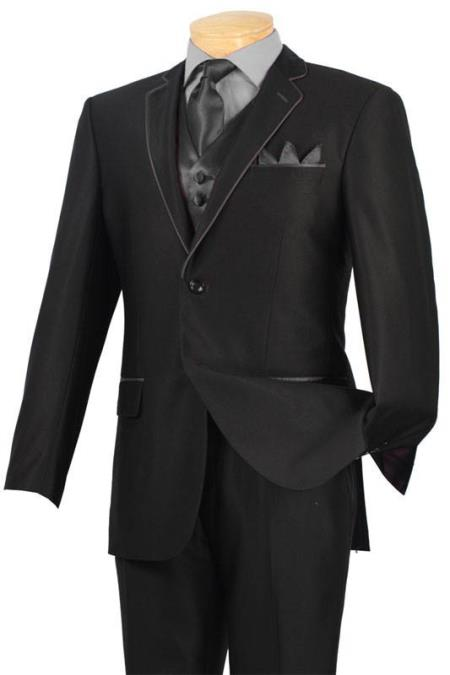 SKU#JUN7 Tuxedo Black Charcoal Trim Microfiber Two Button Notch 5-Piece $585