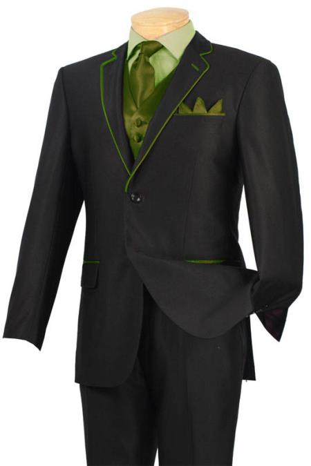 SKU#KIL9 Tuxedo Black Olive Trim Microfiber Two Button Notch 5-Piece $585