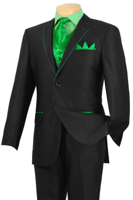 SKU#LMJ8 Tuxedo Black Lime Green Trim Microfiber Two Button Notch 5-Piece $585