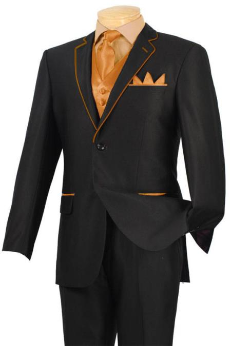 SKU#LPA4 Tuxedo Black Orange ~ Peach Trim Microfiber Two Button Notch 5-Piece 7 days delivery