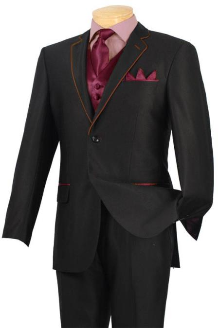 SKU#JMP1 Tuxedo Black Burgundy ~ Maroon ~ Wine Color Trim Microfiber Two Button Notch 5-Piece