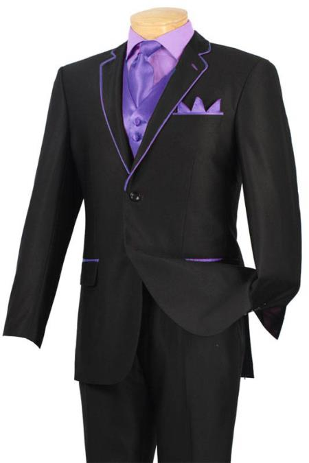 SKU#LAD9 Tuxedo Black Lavender Trim Microfiber Two Button Notch 5-Piece $585
