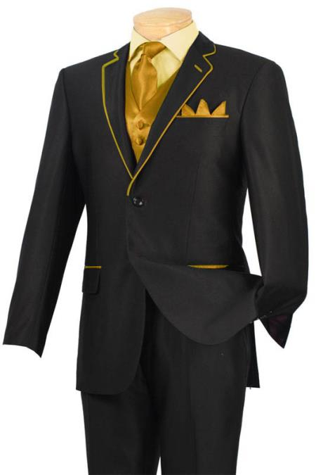 SKU#GHV11 Tuxedo Black Gold-Camel Trim Microfiber Two Button Notch 5-Piece $585