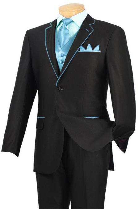 SKU#SDE3 Tuxedo Black Light Blue ~ Sky Blue Trim Microfiber Two Button Notch 5-Piece