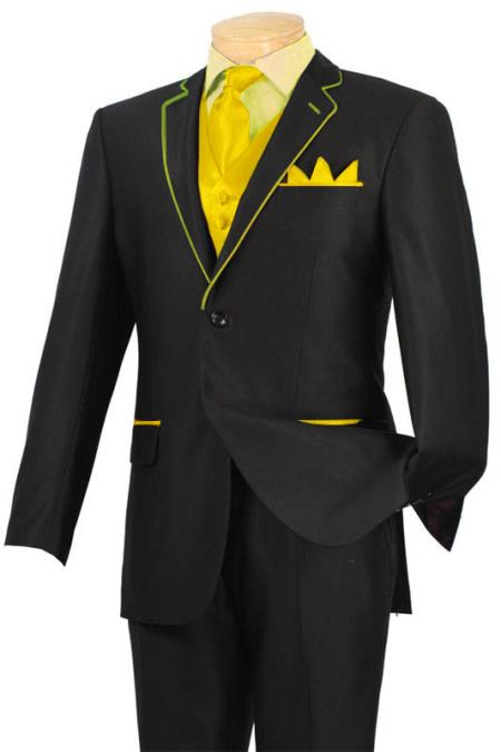 SKU#YUJ2 Tuxedo Black Yellow Trim Microfiber Two Button Notch 5-Piece $585