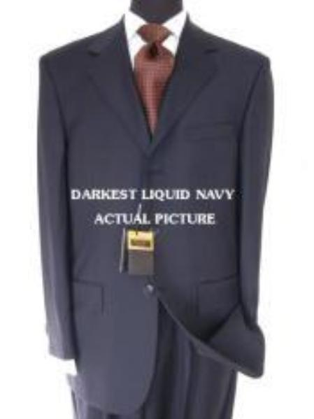 SKU# IWH419 Designer Brand Name 3 Buttons premier quality italian fabric Liquid Darkest Navy Super 150s non back vent coat style