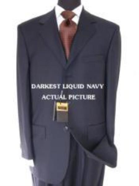 SKU# IWH419 Designer Brand Name 3 Buttons premier quality italian fabric Liquid Darkest Navy Super 150s non back vent coat style