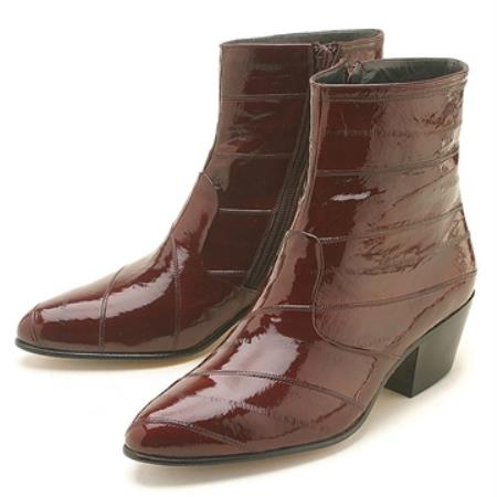 SKU#VT73 Burgundy ~ Maroon ~ Wine Color Eel Zipper Boot $239