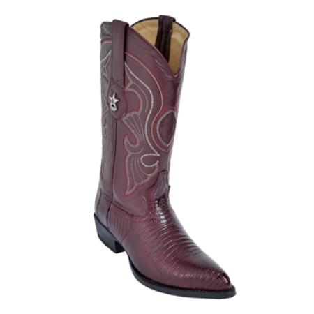 SKU#KU89 Burgundy ~ Maroon ~ Wine Color J-Toe Genuine Teju Lizard $259