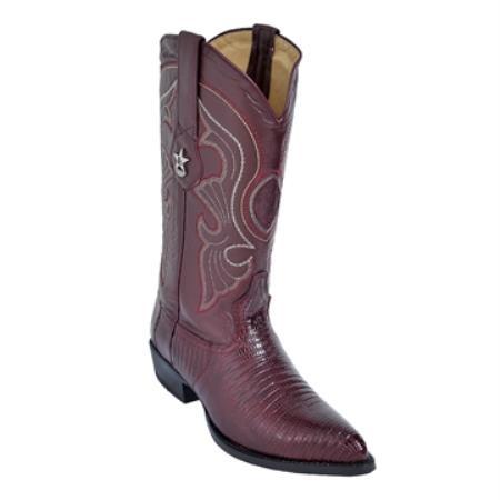 SKU#KU89 Burgundy ~ Maroon ~ Wine Color J-Toe Genuine Teju Lizard