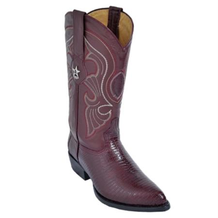 SKU#KR63 Burgundy ~ Maroon ~ Wine Color J-Toe Genuine Teju Lizard $279