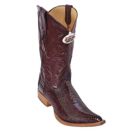 SKU#GB89 Burgundy ~ Maroon ~ Wine Color 3X Toe Genuine Ostrich Leg $279