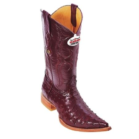 SKU#BS65 Burgundy ~ Maroon ~ Wine Color 3X Toe Genuine Ostrich $475