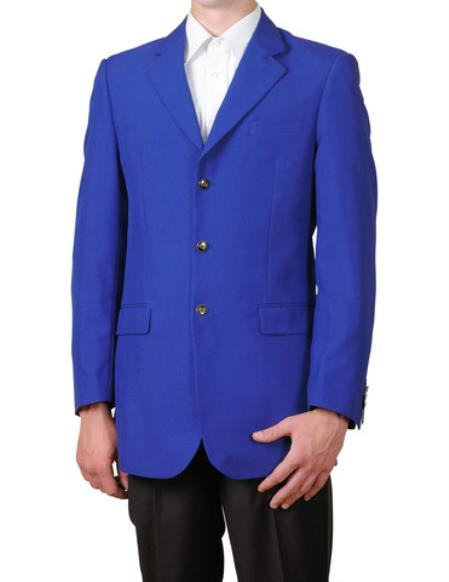 SKU#EX22 Mens Royal Blue Single Breasted Three Button Suit Jacket Sportscoat Dinner Blazer $99