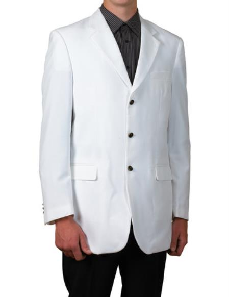 Mens White Single Breasted Three Button Blazer Sportscoat Dinner Suit Jacket