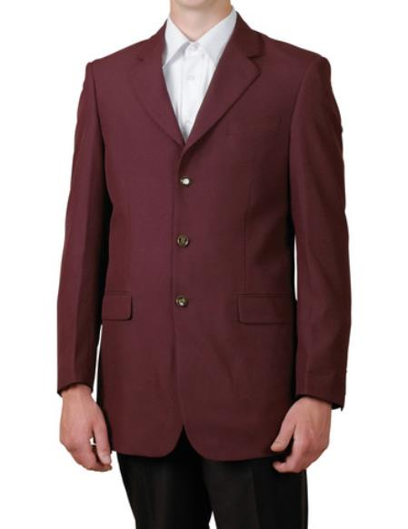 SKU#EZL2 Mens Burgundy/Maroon Single Breasted Three Button Suit Jacket Dinner Blazer $79