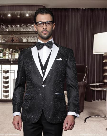 SKU#UZS2 Classic 3PC 1 Button Black Suit with Trim on the Collar Super 150
