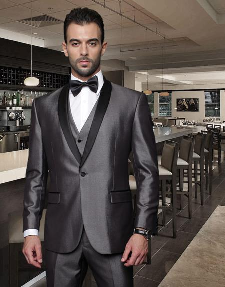 SKU#NNJ7 Classic 3PC 1 Button Shale Collar Black Suit with Trim on the Collar Super 150