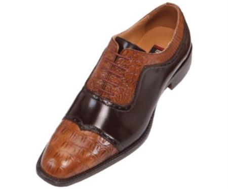 SKU#HF8 Mens Two-Tone Faux Crocodile Print Cognac & Brown Oxford Dress Shoes $99