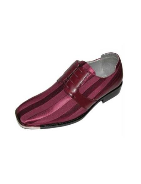 SKU#WC63 Mens Burgundy ~ Maroon ~ Wine Color Classic Oxford Striped Satin Dress Shoe with Silver Tip $75