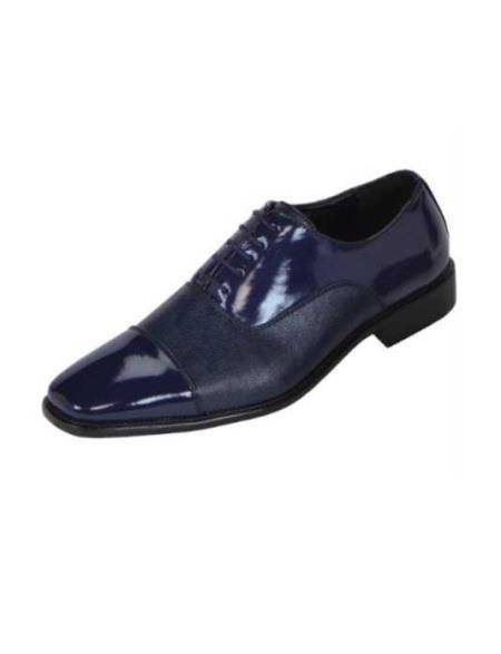 SKU#EG55 Mens Navy ~ Midnight blue Tuxedo Shoe Contemporary Smooth