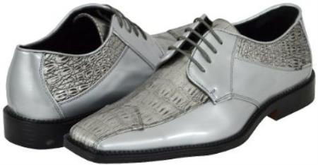 SKU#QBB3 Kada Silver Mens Dress Shoes $99