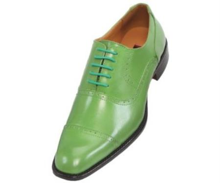 SKU#AHB3 Mens Apple Green Oxford Dress Shoe $99