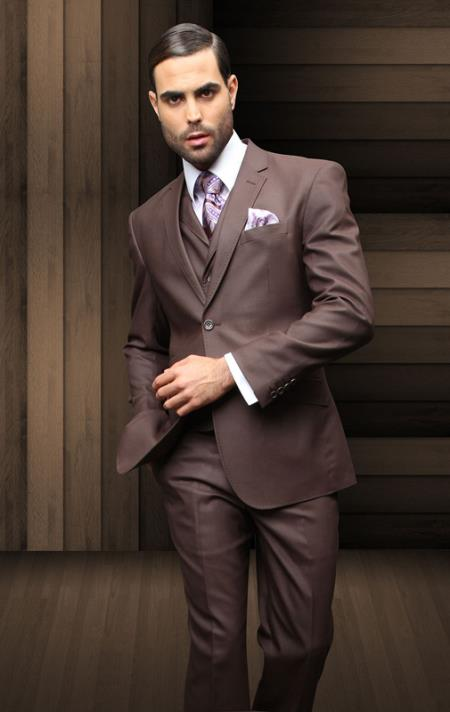 Men's Vintage Style Suits, Classic Suits Nice 3PC 2 Button Brown Suit with a Vest Supers Extra Fine Italian Wool $175.00 AT vintagedancer.com