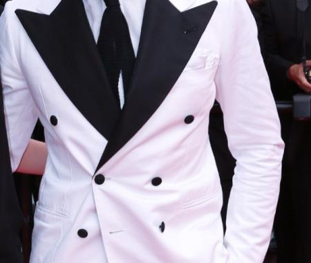 SKU#EU22 Stylish White Double Breasted Suit with Black Lapel $595
