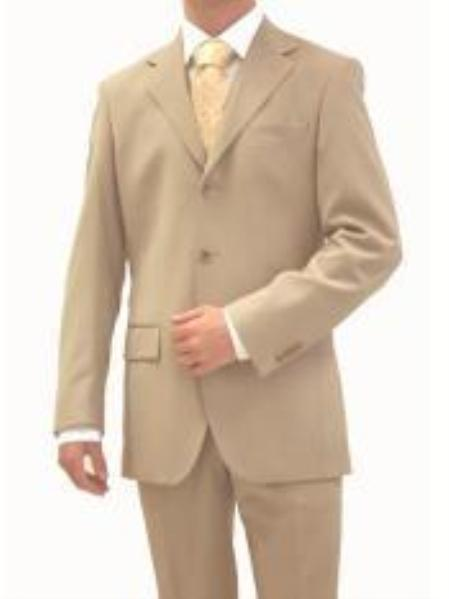 SKU# OBK361 premier quality italian fabric Design, Mens Tan (Beige) Suit Super 150s Wool~ Suit 3