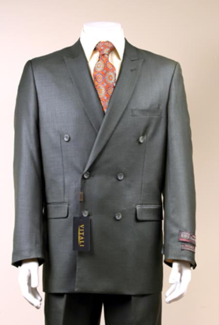 SKU#2CC4S Mens Elegant Shiny Double Breasted Designer Sharkskin Suit Charcoal Gray $139