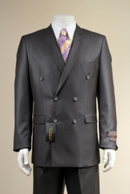 SKU#3VV4D Mens Elegant Shiny Double Breasted Designer Sharkskin Suit Black $185