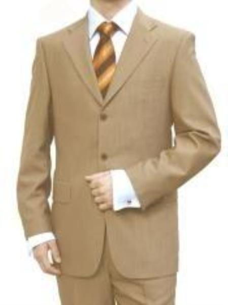 SKU# UGD166 premier Quality Italian Fabric Design, Mens Camel Beige 3 Button Flat Front Suit (Supe