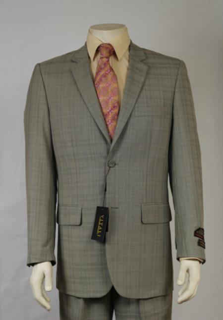 SKU#2KU3 Mens 2 Button Textured Mini Weave Patterned Shiny Sharkskin Light Olive Suit $185