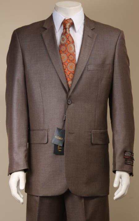 SKU#8KP2 Mens 2 Button patterned Mini Weave Patterned Shiny Sharkskin Brown Suit