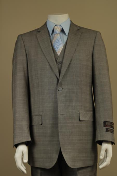SKU#G55F Mens 2 Button Window Pane Glen Plaid Patterned Vested 3PC Suit Taupe