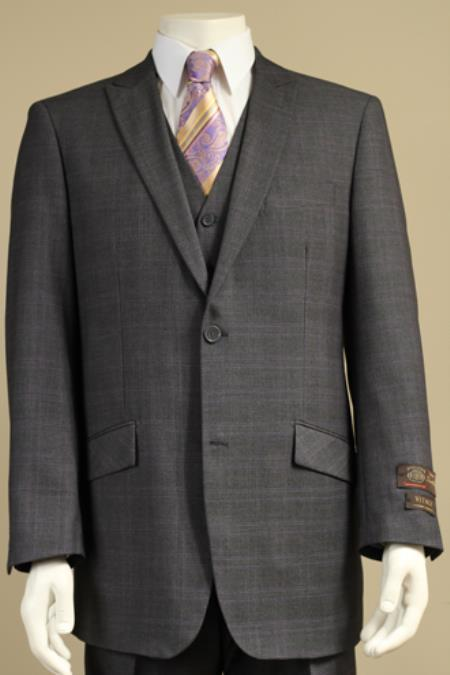 SKU#J77Y Mens 2 Button Window Pane Plaid Patterned Vested 3PC Suit Charcoal Gray $185