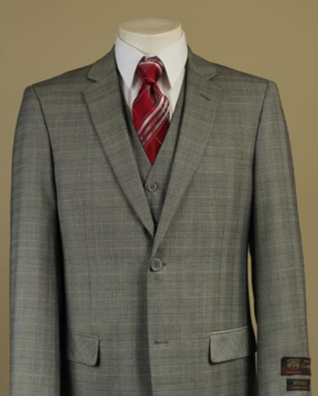 SKU#O8L2 Mens 2 Button Window Pane Glen Plaid Patterned Vested 3PC Light Olive Suit $185