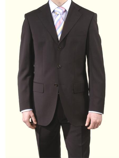 Men's premier quality italian fabric Design Business Black 3 Button Super 140's Wool suit
