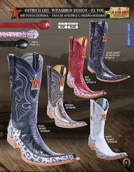 SKU#RM78 Los Altos 9X Toe Genuine Ostrich Leg Mens Western Cowboy Boots Diff.Colors/Size $249