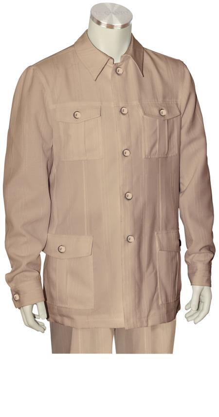 1930s Style Mens Shirts Mens 2 Piece Long Sleeve Walking Suit Casual Urban Style Taupe $125.00 AT vintagedancer.com