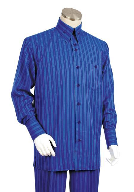 SKU#ZP8C Mens 2 Piece Long Sleeve Walking Suit - Triple Stripe ~ Pinstripe Royal
