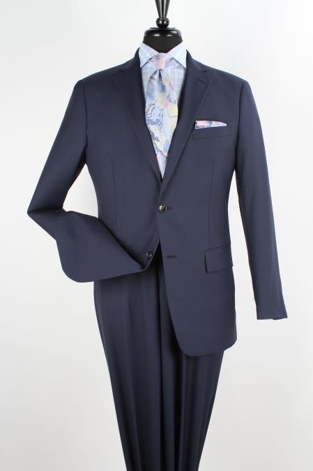 SKU#7V2G Mens 2 Piece 100% Wool Executive Suit - Notch Lapel Solid Navy
