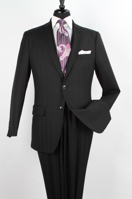 SKU#4T4V Mens 2 Piece 100% Wool Executive Suit - Notch Lapel Solid Black - Herringbone Tweed Pattern