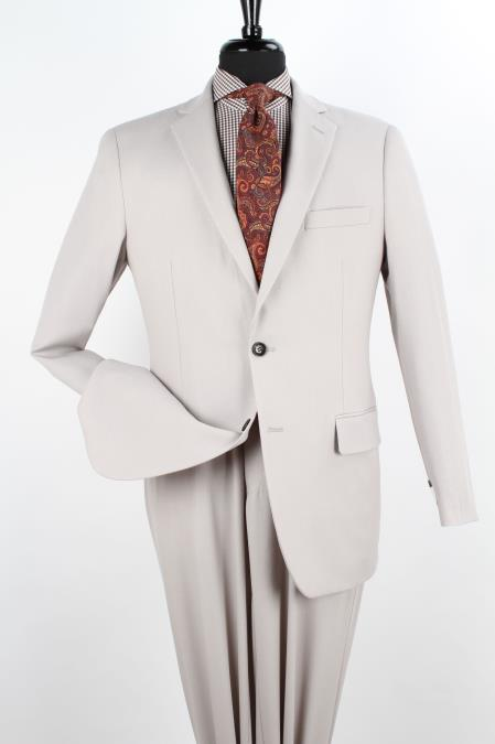 SKU#W33E Mens 2 Piece 100% Wool Executive Suit - Notch Lapel Solid Ivory $199