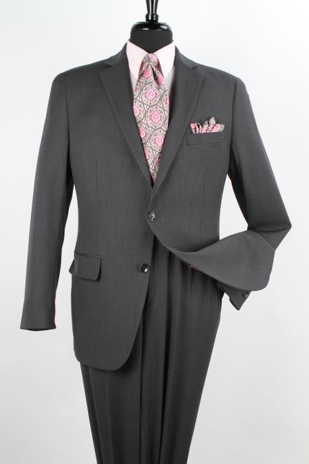 SKU#1D2D Mens 2 Piece 100% Wool Executive Suit - Notch Lapel Solid Charcoal Grey