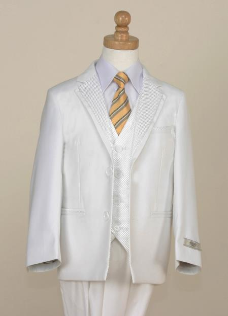 SKU#B2BG Boys 5 Piece Tuxedo - Modern Look with Checkered Trim (White) $125