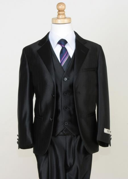 SKU#A3X4 Boys 5 Piece Tuxedo - Modern Look with Shiny Trim Black $125